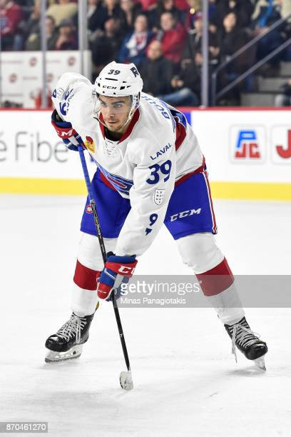 Jordan Boucher of the Laval Rocket looks on prior to a faceoff against the Toronto Marlies during the AHL game at Place Bell on November 1 2017 in...