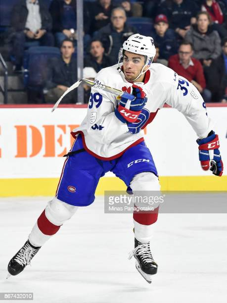 Jordan Boucher of the Laval Rocket skates against the Rochester Americans during the AHL game at Place Bell on October 25 2017 in Laval Canada The...