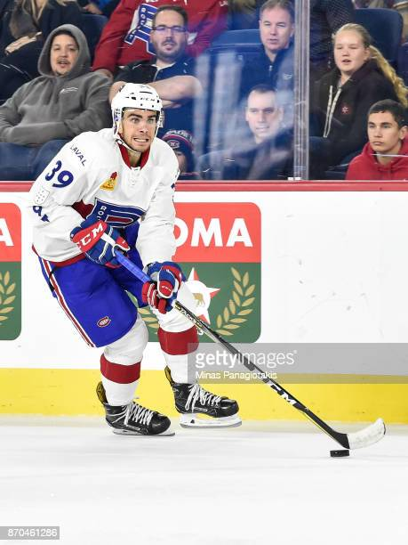 Jordan Boucher of the Laval Rocket skates the puck against the Toronto Marlies during the AHL game at Place Bell on November 1 2017 in Laval Quebec...