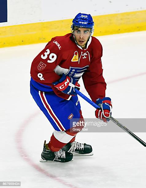 Jordan Boucher of the Laval Rocket turns up ice against the Toronto Marlies during AHL game action on October 28 2017 at Ricoh Coliseum in Toronto...