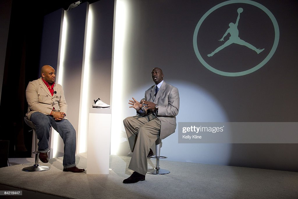 Jordan Brand footwear designer Jason Mayden and Michael Jordan address the media during the launch of the Air Jordan 2009 at The Event Space on January 8, 2009 in New York City.