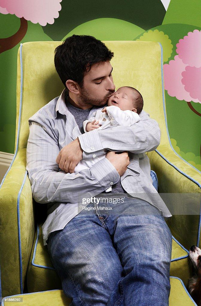 Jordan Bratman, Christina Aguilera's husband, poses with their son Max Liron Bratman on February 9, 2008 in their Los Angeles, California home.