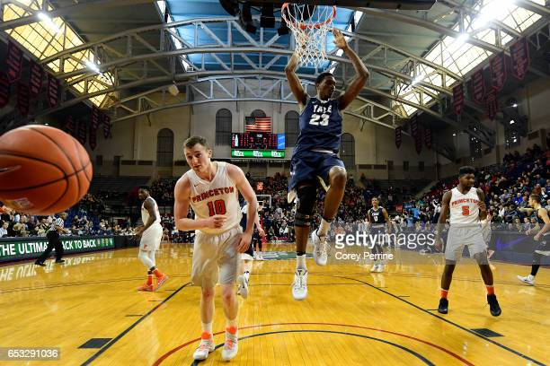 Jordan Bruner of the Yale Bulldogs dunks against the Princeton Tigers during the first half of the Ivy League tournament final at The Palestra on...