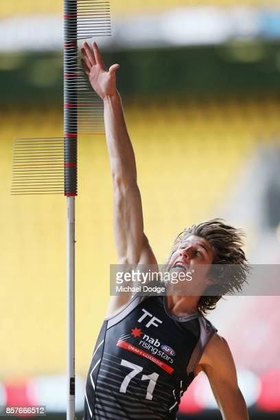 Jordan Butts of the Murray Bushrangers takes part in the vertical leap during the AFLW Draft Combine at Etihad Stadium on October 4 2017 in Melbourne...