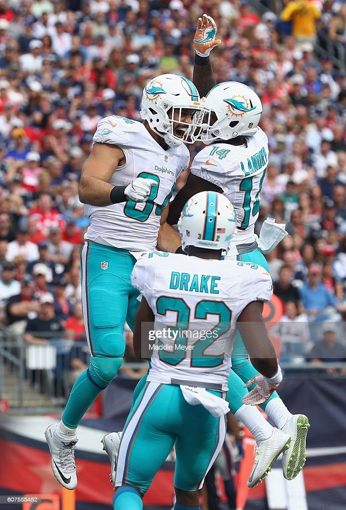 Jordan Cameron #84 of the Miami Dolphins celebrates with Jarvis Landry #14 after scoring a touchdown during the fourth quarter against the New England Patriots at Gillette Stadium on September 18, 2016 in Foxboro, Massachusetts.