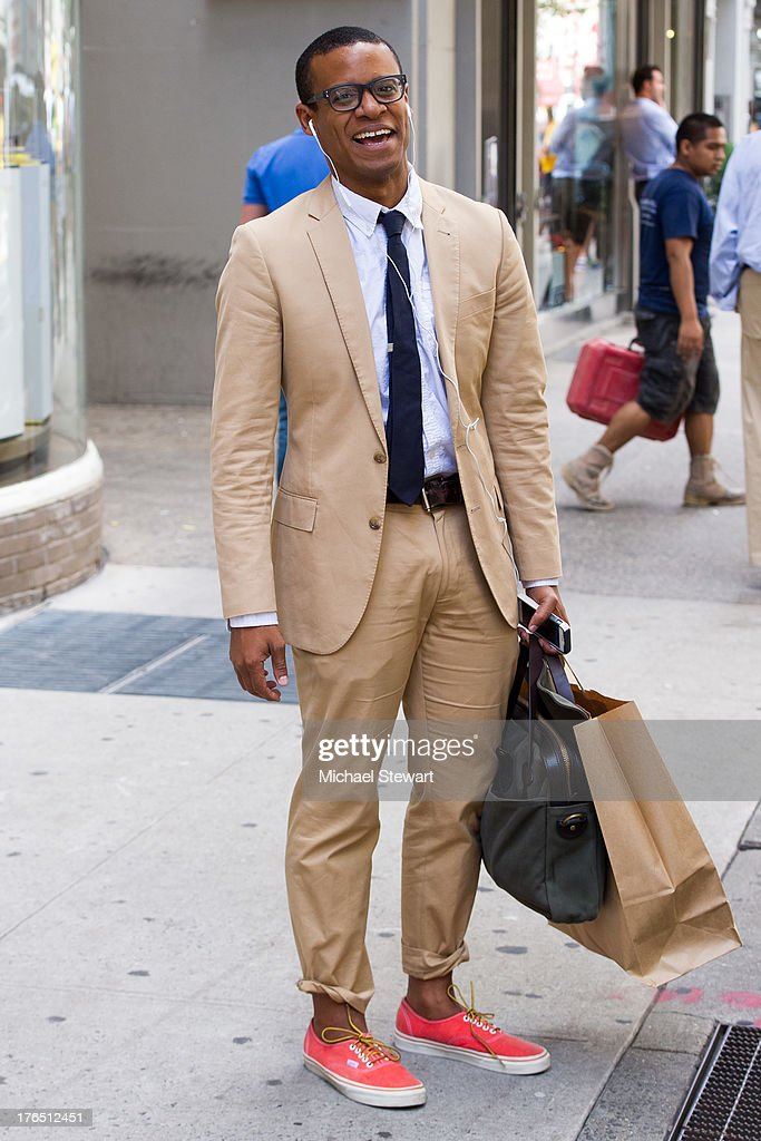 Jordan Carlos seen on the streets of Manhattan on August 14, 2013 in New York City.