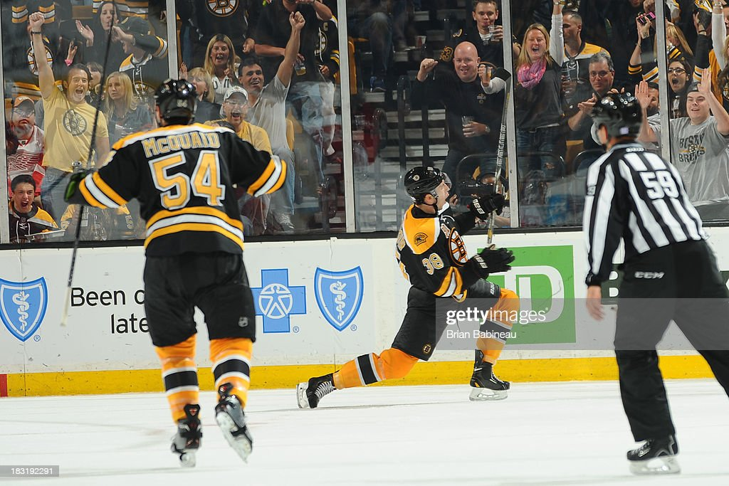 <a gi-track='captionPersonalityLinkClicked' href=/galleries/search?phrase=Jordan+Caron&family=editorial&specificpeople=5104084 ng-click='$event.stopPropagation()'>Jordan Caron</a> #38 of the Boston Bruins celebrates a goal against the Detroit Red Wings at the TD Garden on October 5, 2013 in Boston, Massachusetts.