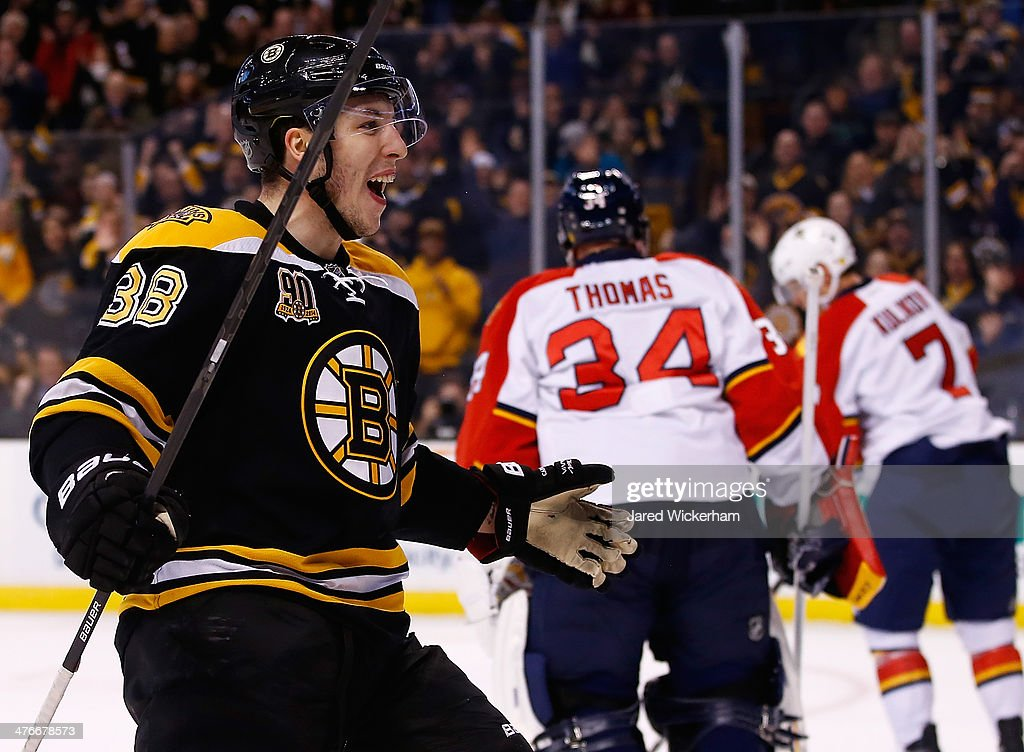 Jordan Caron of the Boston Bruins celebrates a goal by teammate Jarome Iginla against the Florida Panthers in the first period during the game at TD...