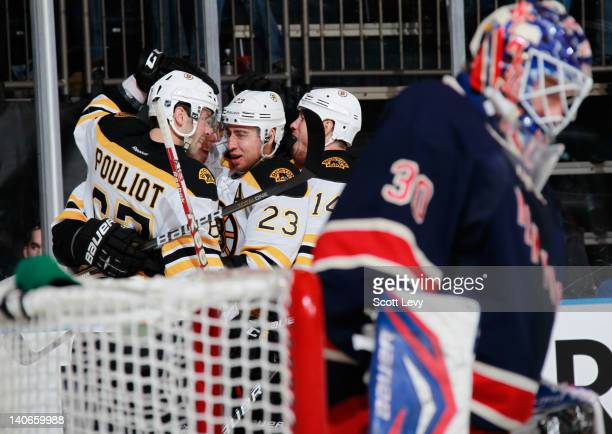 Jordan Caron of the Boston Bruins celebrates his second period goal against Henrik Lundqvist of the New York Rangers at Madison Square Garden on...