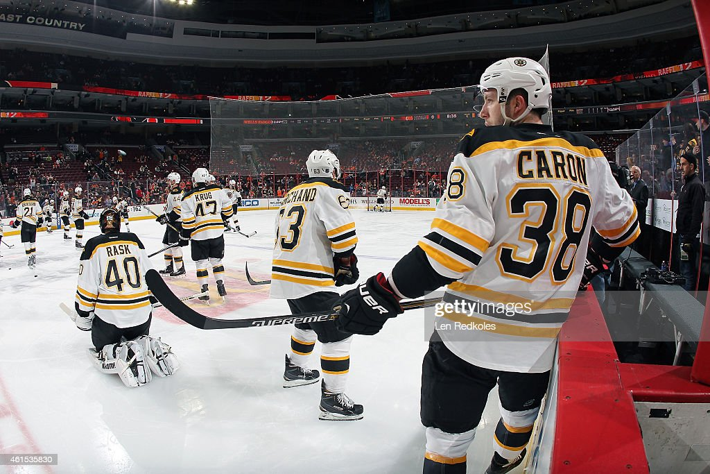 Jordan Caron of the Boston Bruins looks on during warmups prior to his game against the Philadelphia Flyers on January 10 2015 at the Wells Fargo...