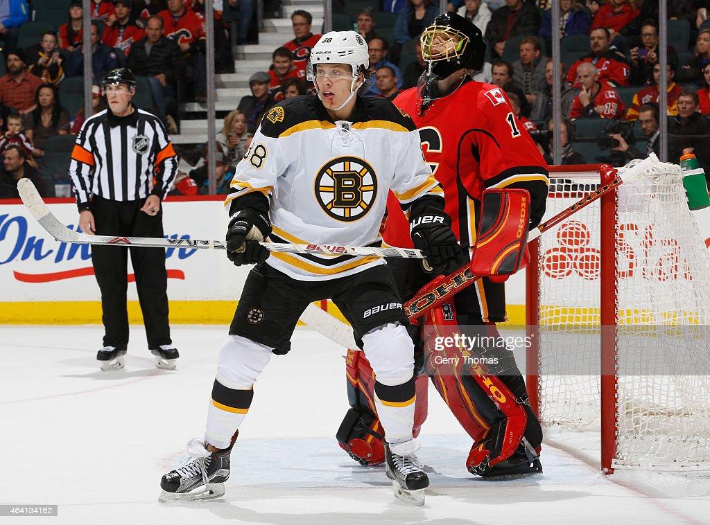 Jordan Caron of the Boston Bruins skates against the Calgary Flames at Scotiabank Saddledome on February 16 2015 in Calgary Alberta Canada