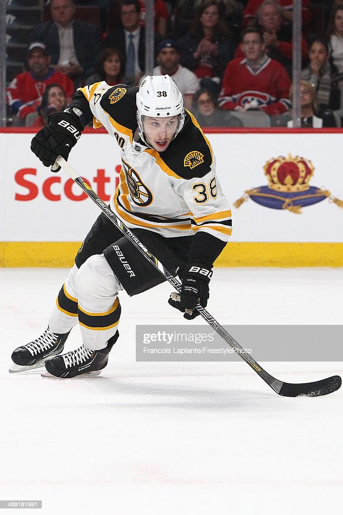 Jordan Caron of the Boston Bruins skates against the Montreal Canadiens in Game Three of the Second Round of the 2014 NHL Stanley Cup Playoffs at the...