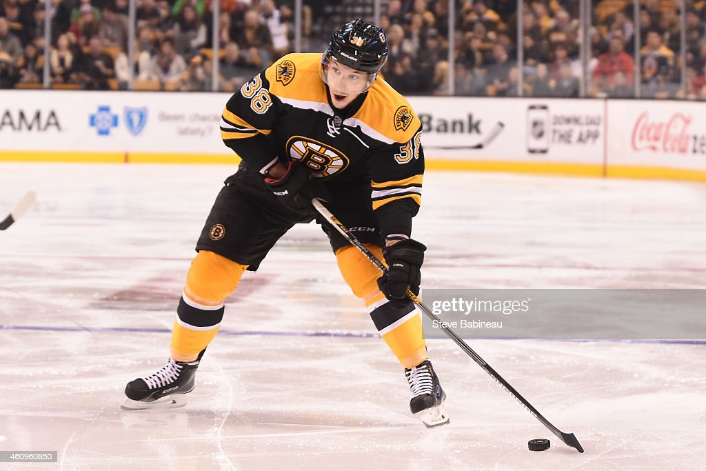 Jordan Caron of the Boston Bruins with the puck against the Detroit Red Wings at the TD Garden on December 29 2014 in Boston Massachusetts