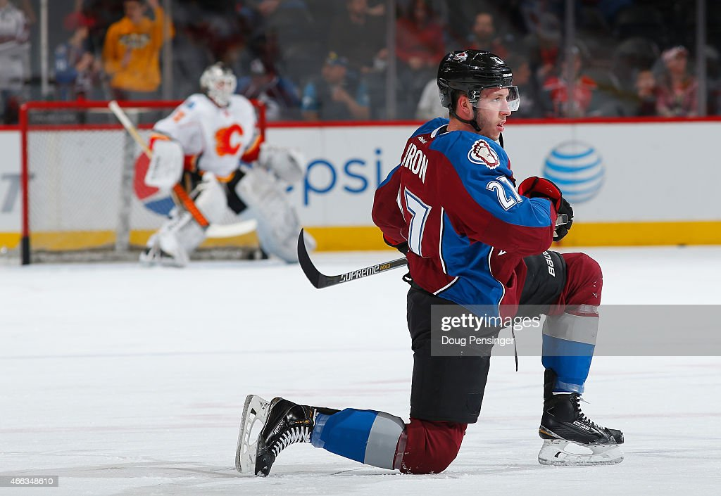 Jordan Caron of the Colorado Avalanche stretches during warm up prior to facing the Calgary Flames at Pepsi Center on March 14 2015 in Denver Colorado