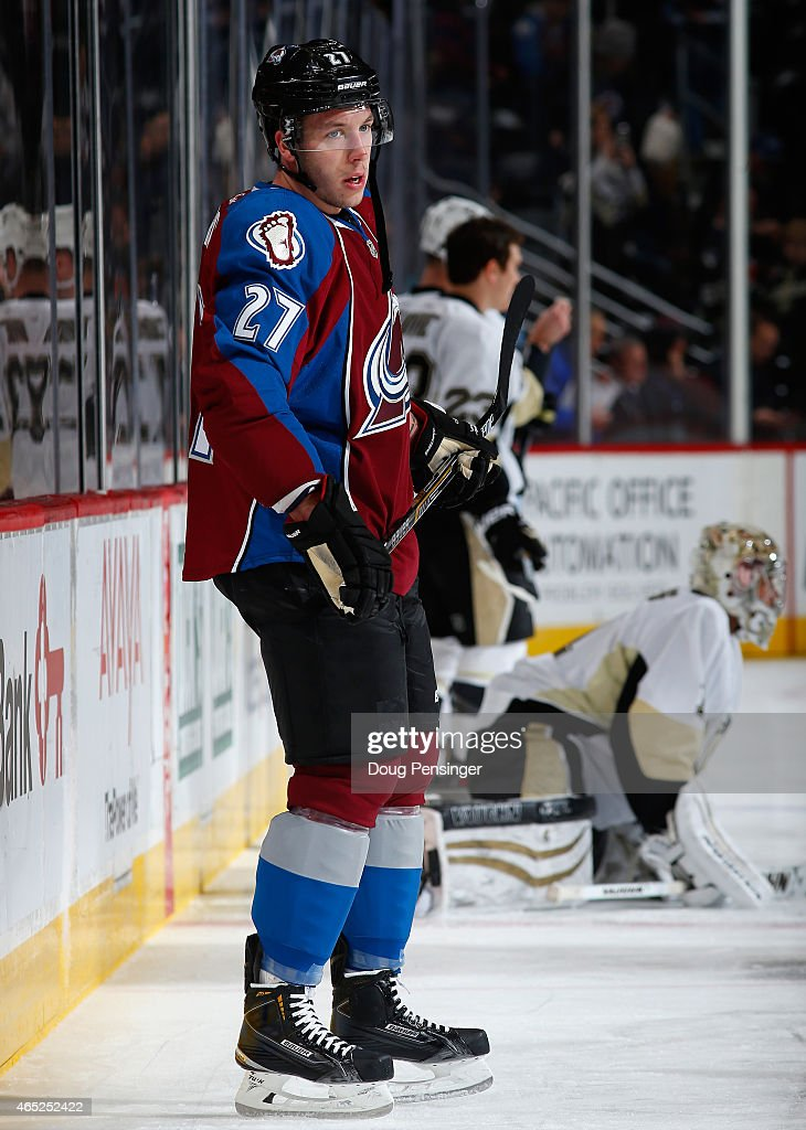 Jordan Caron of the Colorado Avalanche warms up prior to facing the Pittsburgh Penguins at Pepsi Center on March 4 2015 in Denver Colorado