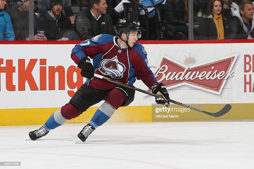Jordan Caron skates in his first game as a member of the Colorado Avalanche against the Pittsburgh Penguins at the Pepsi Center on March 4 2015 in...