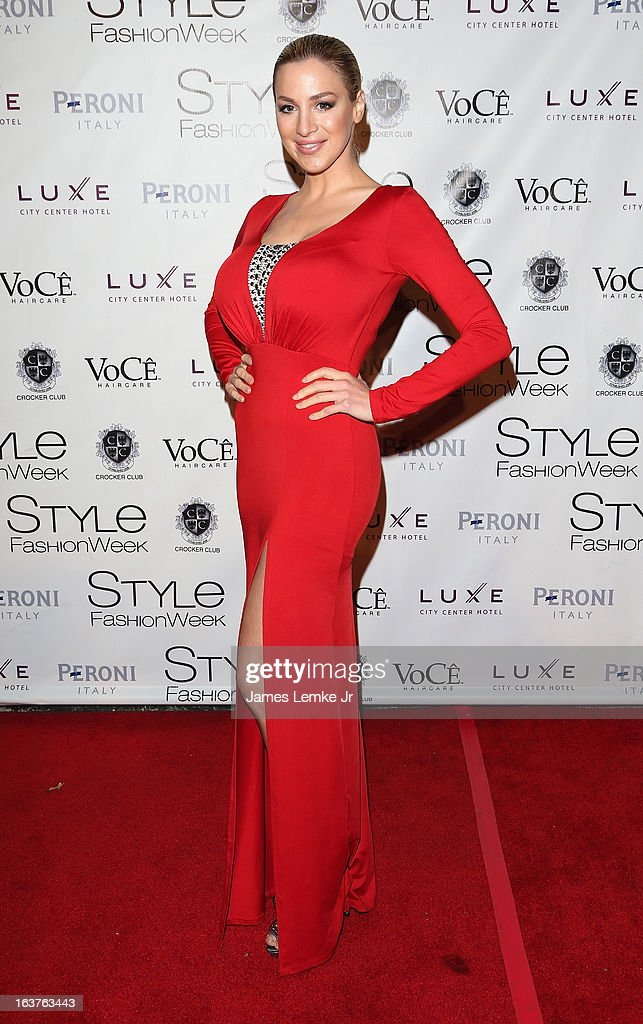 Jordan Carver attends the 2013 Los Angeles Fashion Week - Go Red For Women Red Dress Fashion Show held at the Vibiana on March 14, 2013 in Los Angeles, California.