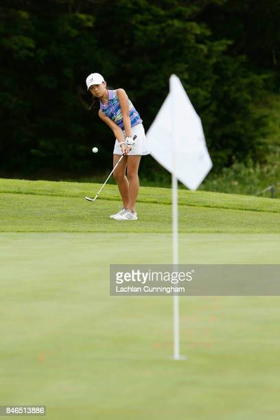 Jordan Chan competes in the Chip competition in the girls 1213 years division during the Drive Chip and Putt Western Region Qualifying tournament at...