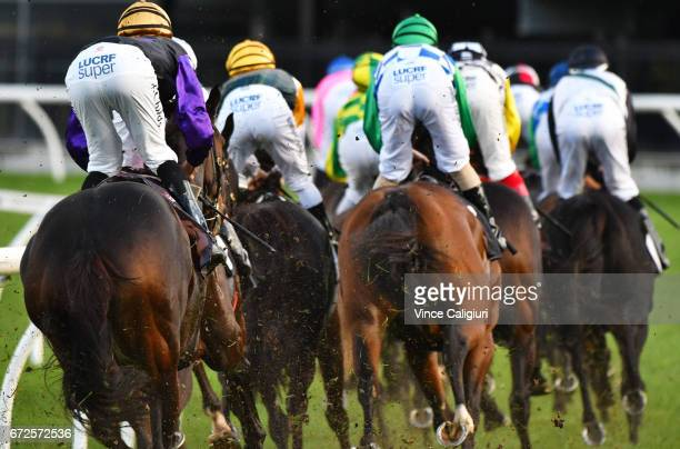 Jordan Childs riding Dornier is seen last with a lap to go before winning Race 6 VRC St Leger during Melbourne Racing at Flemington Racecourse on...