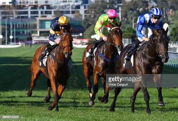 Jordan Childs riding Tashbeeh winning Race 7 Hilton Nicholas Straight Six during Melbourne Racing at Flemington Racecourse on May 20 2017 in...