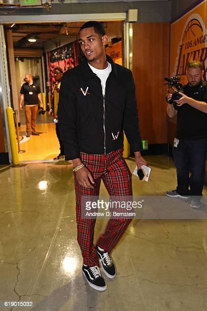 Jordan Clarkson of the Los Angeles Lakers arrives at the arena before the game against the Houston Rockets on October 26 2016 at STAPLES Center in...