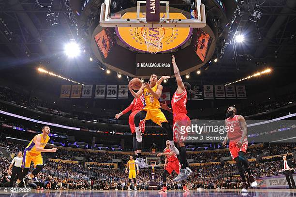 Jordan Clarkson of the Los Angeles Lakers drives to the basket against the Houston Rockets on October 26 2016 at STAPLES Center in Los Angeles...