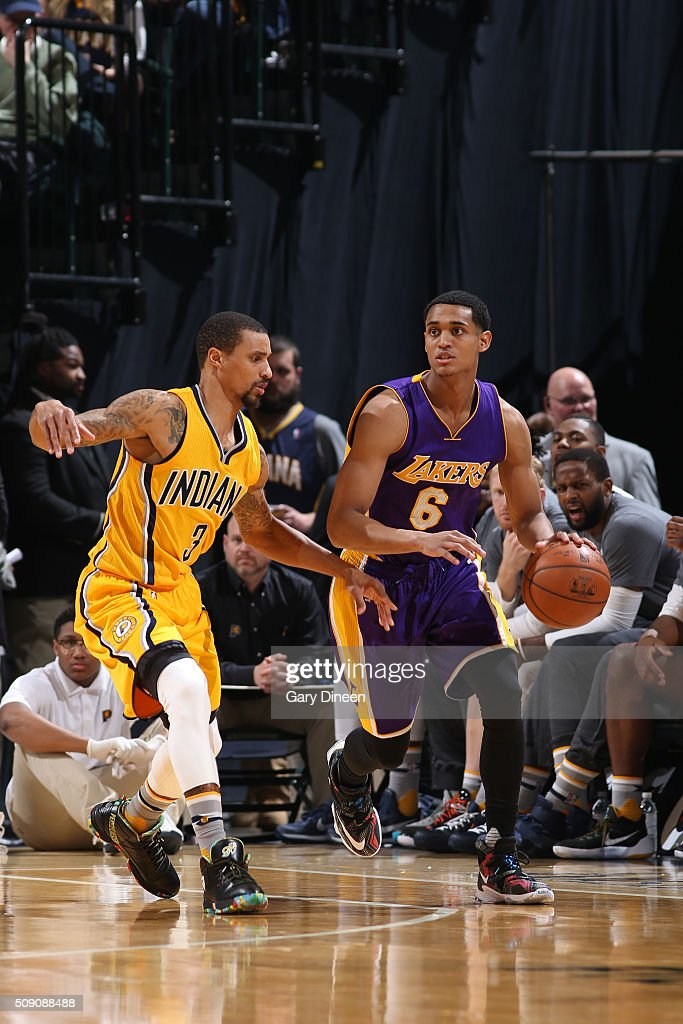 <a gi-track='captionPersonalityLinkClicked' href=/galleries/search?phrase=Jordan+Clarkson&family=editorial&specificpeople=7471825 ng-click='$event.stopPropagation()'>Jordan Clarkson</a> #6 of the Los Angeles Lakers handles the ball against the Indiana Pacers on February 8, 2016 at Bankers Life Fieldhouse in Indianapolis, Indiana.