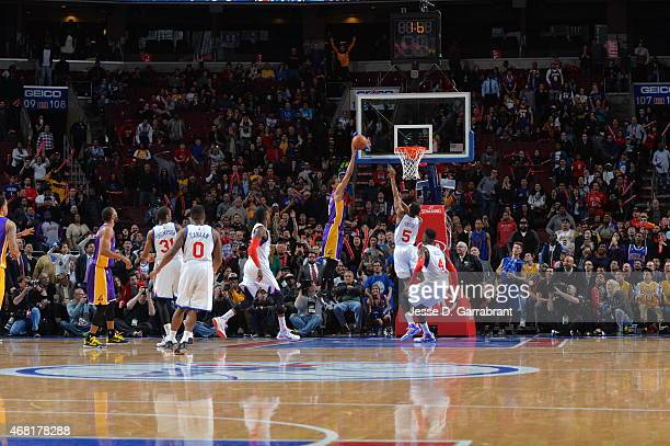 Jordan Clarkson of the Los Angeles Lakers hits the game winning shot against the Philadelphia 76ers at Wells Fargo Center on March 30 2015 in...