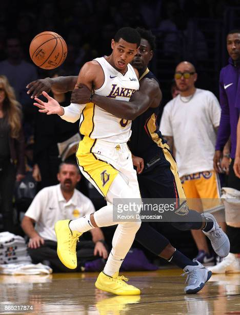 Jordan Clarkson of the Los Angeles Lakers is fouled by Jrue Holiday of the New Orleans Pelicans during the second half at Staples Center October 22...