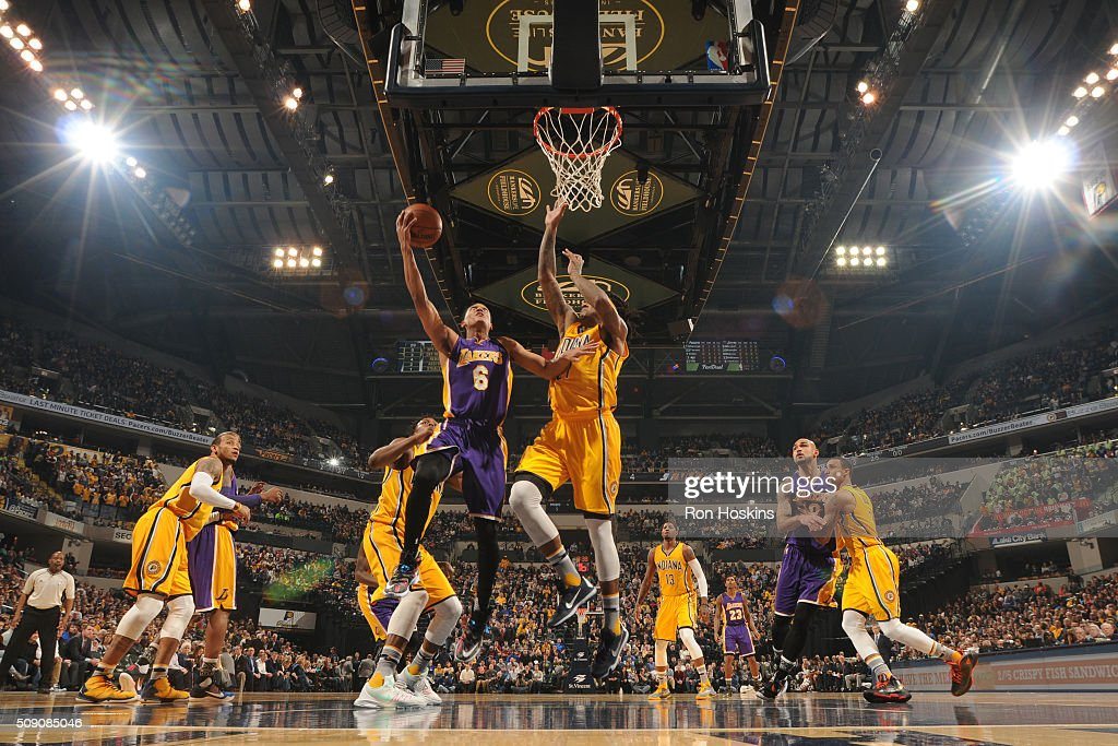 <a gi-track='captionPersonalityLinkClicked' href=/galleries/search?phrase=Jordan+Clarkson&family=editorial&specificpeople=7471825 ng-click='$event.stopPropagation()'>Jordan Clarkson</a> #6 of the Los Angeles Lakers shoots a lay up against the Indiana Pacers on February 8, 2016 at Bankers Life Fieldhouse in Indianapolis, Indiana.