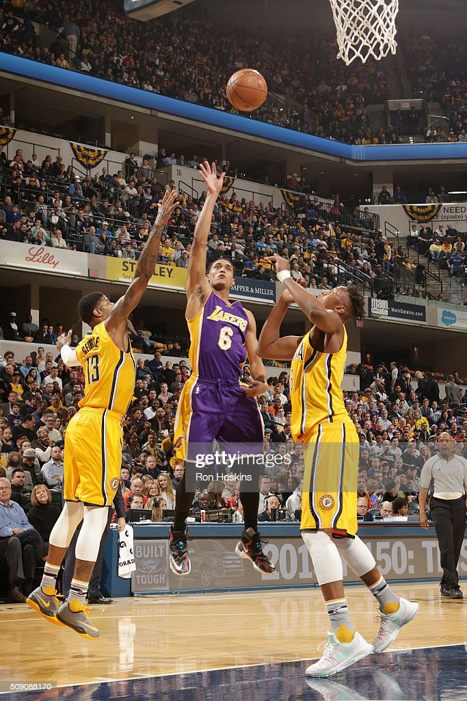 <a gi-track='captionPersonalityLinkClicked' href=/galleries/search?phrase=Jordan+Clarkson&family=editorial&specificpeople=7471825 ng-click='$event.stopPropagation()'>Jordan Clarkson</a> #6 of the Los Angeles Lakers shoots the ball against the Indiana Pacers on February 8, 2016 at Bankers Life Fieldhouse in Indianapolis, Indiana.