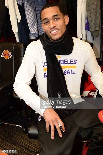 Jordan Clarkson of the Los Angeles Lakers smiles for a photo before the game against the LA Clippers on December 25 2016 at STAPLES Center in Los...