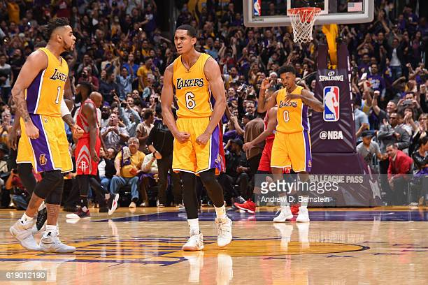 Jordan Clarkson of the Los Angeles Lakers yells and celebrates during a game against the Houston Rockets on October 26 2016 at STAPLES Center in Los...