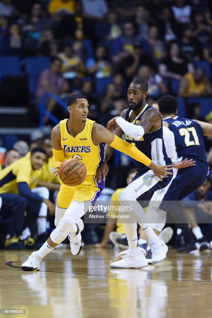 Jordan Clarkson #6 of the Los Angeles Lakershandles the ball against the Denver Nuggets on October 4, 2017 at Citizens Business Bank Arena in Los Angeles, California.