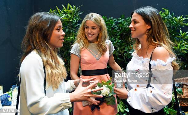 Jordan Collyer Olivia Cox and Loanne Collyer attend the Maison StGermain opening night at 2 Soho Square on July 26 2017 in London England