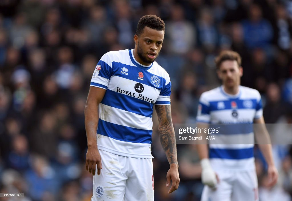 Jordan Cousins of Queens Park Rangers during the Sky Bet Championship match between Queens Park Rangers and Wolverhampton at Loftus Road on October 28, 2017 in London, England.