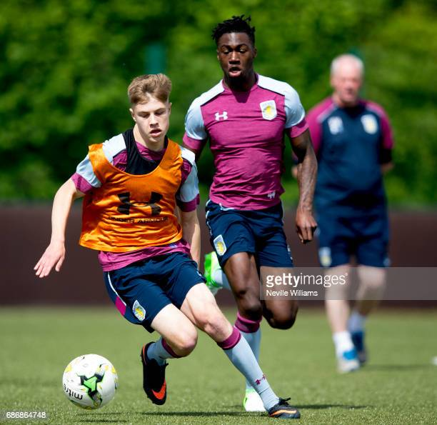 Jordan Cox of Aston Villa in action during a Aston Villa U23's training session at the club's training ground at Bodymoor Heath on May 22 2017 in...