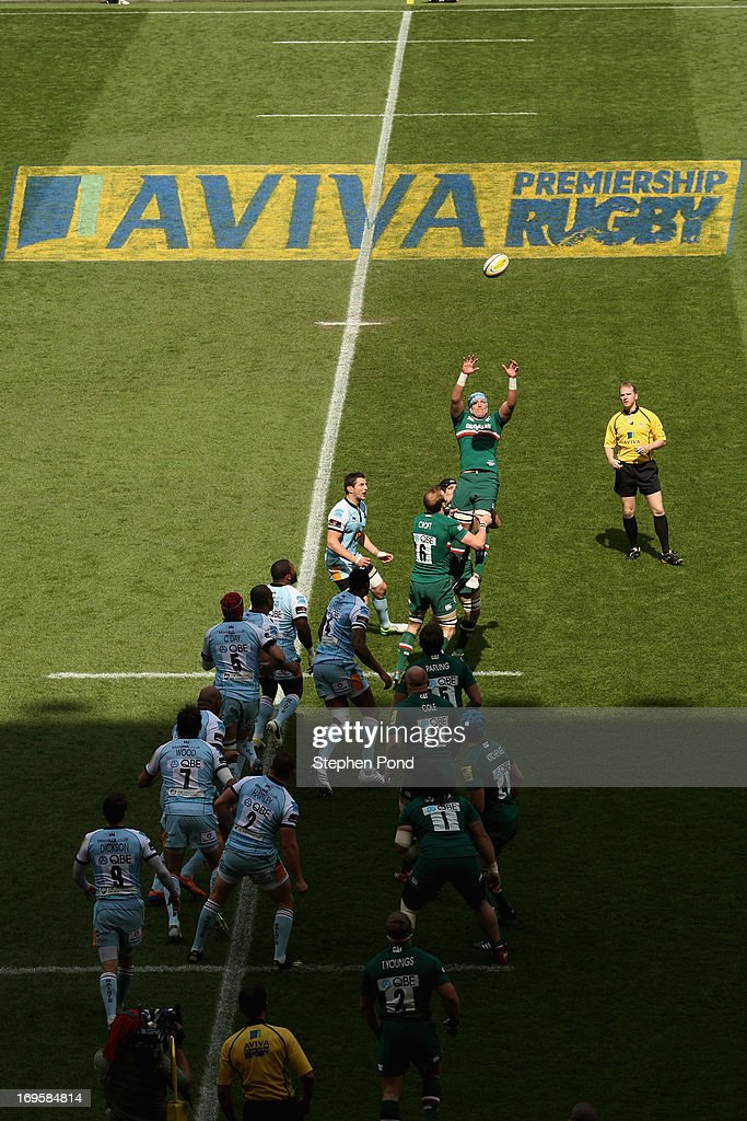Jordan Crane of Leicester Tigers claims the ball in the line out during the Aviva Premiership Final between Leicester Tigers and Northampton Saints at Twickenham Stadium on May 25, 2013 in London, England.