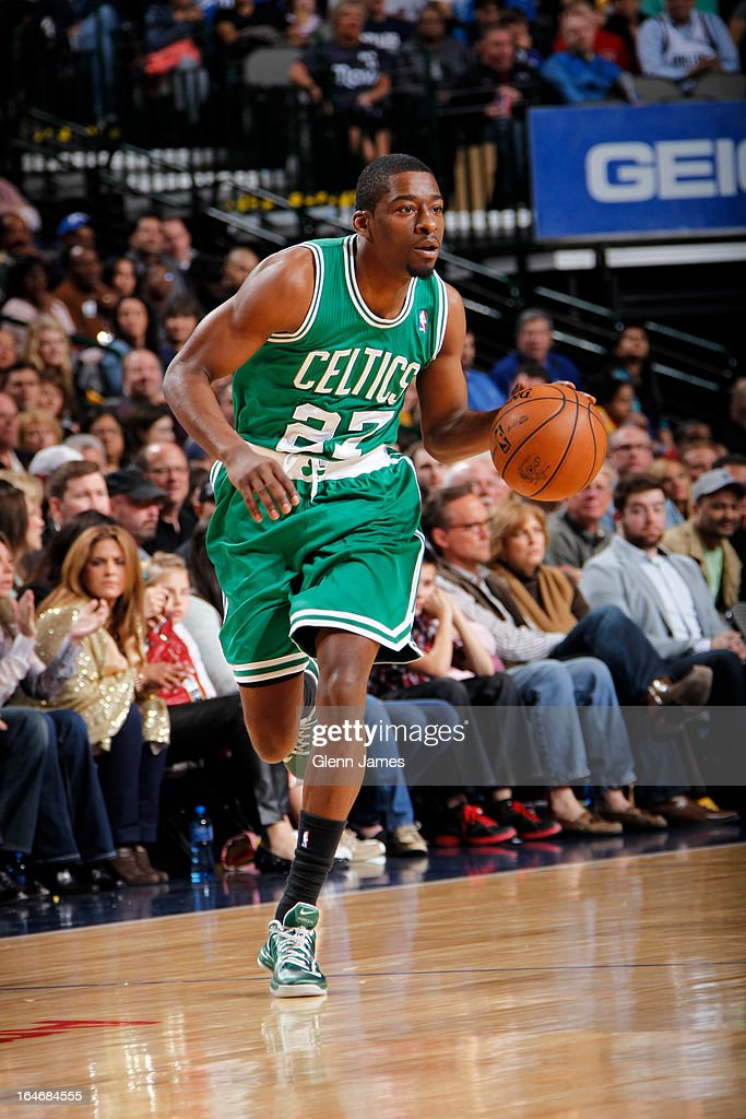 <a gi-track='captionPersonalityLinkClicked' href=/galleries/search?phrase=Jordan+Crawford&family=editorial&specificpeople=4779380 ng-click='$event.stopPropagation()'>Jordan Crawford</a> #27 of the Boston Celtics brings the ball up court against the Dallas Mavericks on March 22, 2013 at the American Airlines Center in Dallas, Texas.