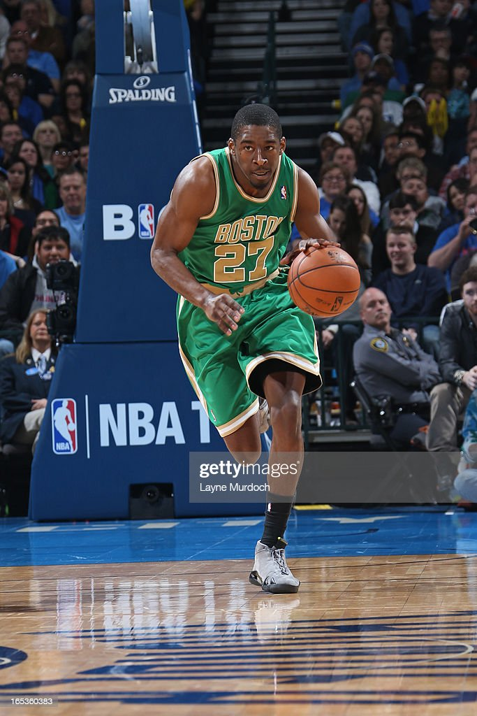 <a gi-track='captionPersonalityLinkClicked' href=/galleries/search?phrase=Jordan+Crawford&family=editorial&specificpeople=4779380 ng-click='$event.stopPropagation()'>Jordan Crawford</a> #27 of the Boston Celtics brings the ball up court against the Oklahoma City Thunder on March 10, 2013 at the Chesapeake Energy Arena in Oklahoma City, Oklahoma.