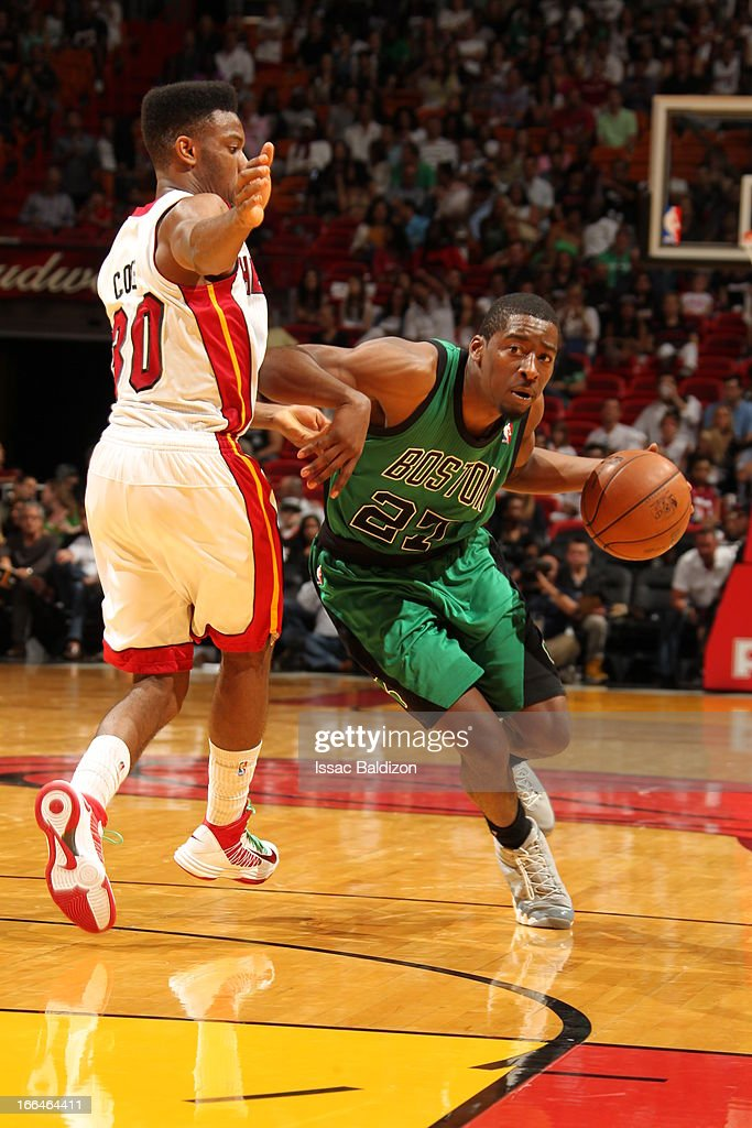 <a gi-track='captionPersonalityLinkClicked' href=/galleries/search?phrase=Jordan+Crawford&family=editorial&specificpeople=4779380 ng-click='$event.stopPropagation()'>Jordan Crawford</a> #27 of the Boston Celtics drives to the basket against <a gi-track='captionPersonalityLinkClicked' href=/galleries/search?phrase=Norris+Cole&family=editorial&specificpeople=5770147 ng-click='$event.stopPropagation()'>Norris Cole</a> #30 of the Miami Heat on April 12, 2013 at American Airlines Arena in Miami, Florida.