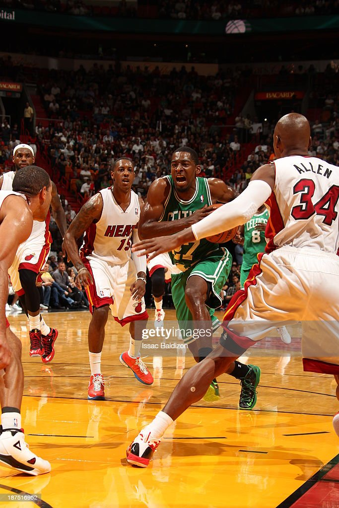 Jordan Crawford #27 of the Boston Celtics drives to the basket against the Miami Heat on November 9, 2013 at American Airlines Arena in Miami, Florida.