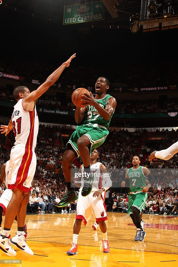 Jordan Crawford #27 of the Boston Celtics goes to the basket against the Miami Heat on November 9, 2013 at American Airlines Arena in Miami, Florida.
