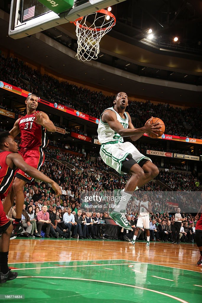 <a gi-track='captionPersonalityLinkClicked' href=/galleries/search?phrase=Jordan+Crawford&family=editorial&specificpeople=4779380 ng-click='$event.stopPropagation()'>Jordan Crawford</a> #27 of the Boston Celtics goes up for a dunk against the Miami Heat during a game on March 18, 2013 at TD Garden in Boston, Massachusetts.