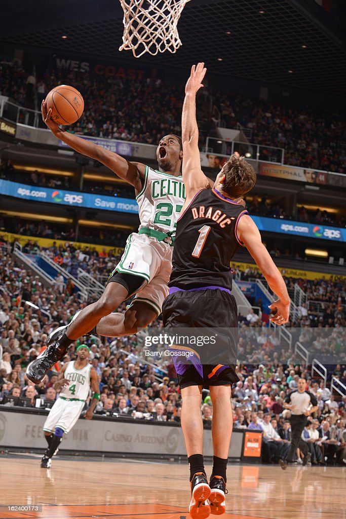 <a gi-track='captionPersonalityLinkClicked' href=/galleries/search?phrase=Jordan+Crawford&family=editorial&specificpeople=4779380 ng-click='$event.stopPropagation()'>Jordan Crawford</a> #27 of the Boston Celtics goes up for a shot against <a gi-track='captionPersonalityLinkClicked' href=/galleries/search?phrase=Goran+Dragic&family=editorial&specificpeople=4452965 ng-click='$event.stopPropagation()'>Goran Dragic</a> #1 of the Phoenix Suns on February 22, 2013 at U.S. Airways Center in Phoenix, Arizona.