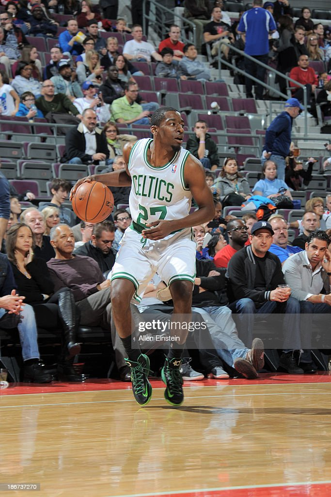 <a gi-track='captionPersonalityLinkClicked' href=/galleries/search?phrase=Jordan+Crawford&family=editorial&specificpeople=4779380 ng-click='$event.stopPropagation()'>Jordan Crawford</a> #27 of the Boston Celtics handles the ball against the Detroit Pistons on November 3, 2013 at The Palace of Auburn Hills in Auburn Hills, Michigan.