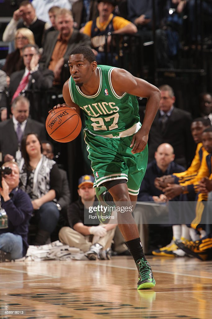 Jordan Crawford #27 of the Boston Celtics handles the ball against the Indiana Pacers at Bankers Life Fieldhouse on December 22, 2013 in Indianapolis, Indiana.