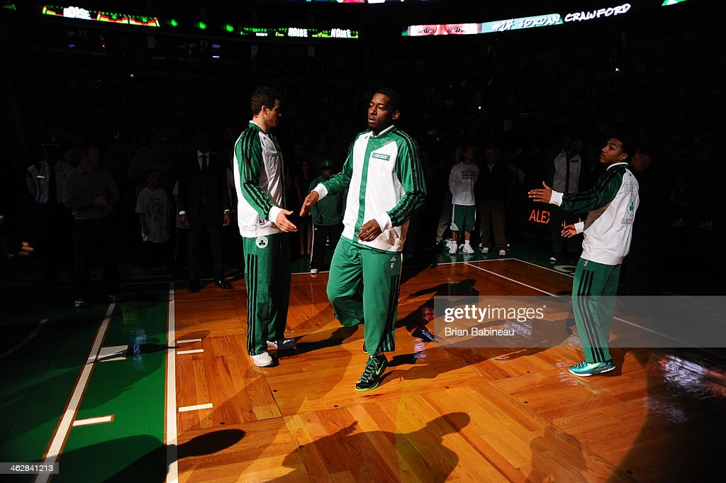<a gi-track='captionPersonalityLinkClicked' href=/galleries/search?phrase=Jordan+Crawford&family=editorial&specificpeople=4779380 ng-click='$event.stopPropagation()'>Jordan Crawford</a> #27 of the Boston Celtics is introduced before the game against the Memphis Grizzlies on November 27, 2013 at the TD Garden in Boston, Massachusetts.