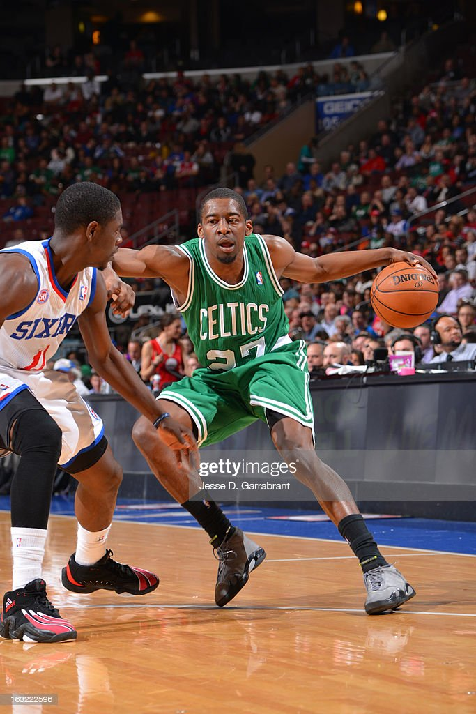 Jordan Crawford #27 of the Boston Celtics looks to drive to the basket against the Philadelphia 76ers on March 5, 2013 at the Wells Fargo Center in Philadelphia, Pennsylvania.