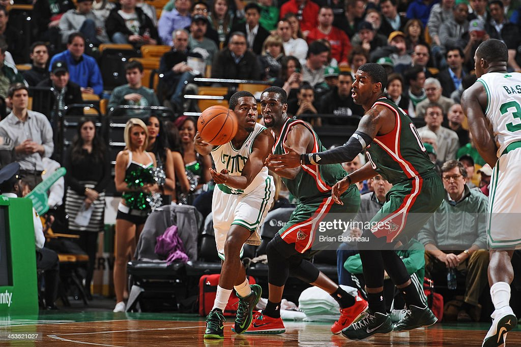 <a gi-track='captionPersonalityLinkClicked' href=/galleries/search?phrase=Jordan+Crawford&family=editorial&specificpeople=4779380 ng-click='$event.stopPropagation()'>Jordan Crawford</a> #27 of the Boston Celtics makes a pass against the Milwaukee Bucks on December 3, 2013 at the TD Garden in Boston, Massachusetts.